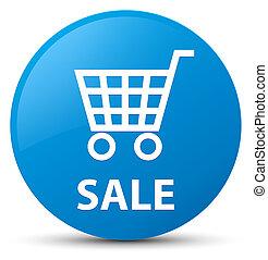 Sale cyan blue round button