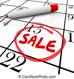 Sale Day Date Circled Calendar Deal Offer Clearance Store Event