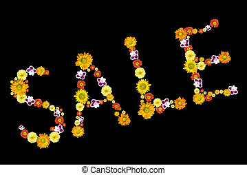 sale. decorative letters from color flowers