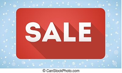 Sale, design of icon. Simple and flat sign with long shadow on snow background. Sales promotion symbol
