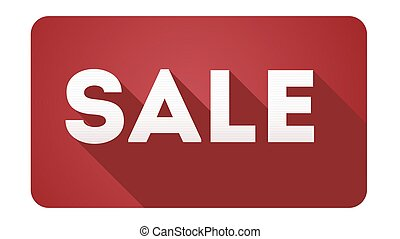 Sale, design of icon. Simple and flat sign with long shadow on white background. Sales promotion symbol
