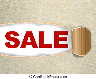 Sale discount advertisement on the paper texture background - Hole with texts