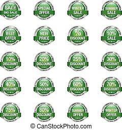 Sale Discount Button Green Silver