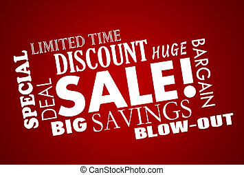Sale Discount Deal Event Word Collage Animation
