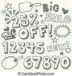 Sale Discount Doodles Vector