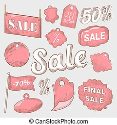 Sale Discount Hand Drawn Labels Set. Vector illustration