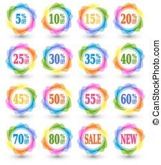 Sale discount percent icons