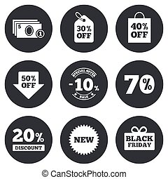 Sale discounts icon. Shopping, black friday and cash money signs. 10, 20, 50 and 70 percent off. Special offer symbols. Gray flat circle buttons. Vector
