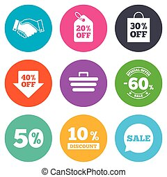 Sale discounts icon. Shopping, handshake and cart signs. 10, 50 and 60 percent off. Special offer symbols. Flat circle buttons. Vector