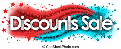 sale Discounts word in stars colored background