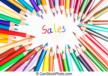 sale drawing by colour pencils on white background