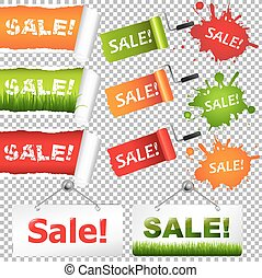 Sale Elements Set, Isolated on Transparent Background, With...