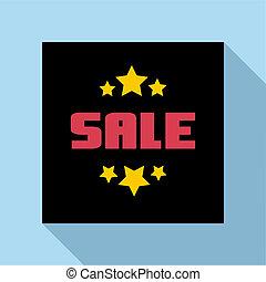 Sale emblem icon, flat style