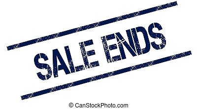 SALE ENDS blue distressed rubber stamp.