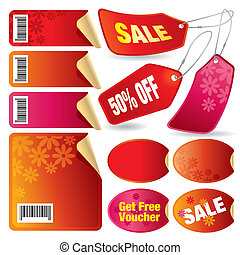 Sale and discount tags, labels and stickers.