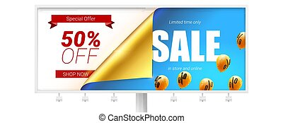Sale, fifty percent discount. Billboard with bended corner of golden paper isolated on white. Vector banner. Special offer clearance 50 percent off. Set of flying in blue sky balloons.