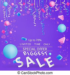 Sale flayer with confetti on neon violet background