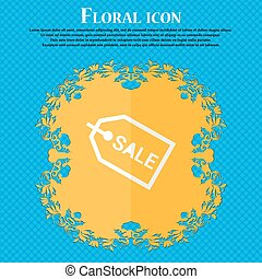 Sale. Floral flat design on a blue abstract background with place for your text. Vector