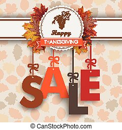 Sale Foliage Thanksgiving Emblem - Text Sale with...