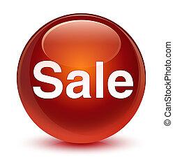 Sale glassy brown round button