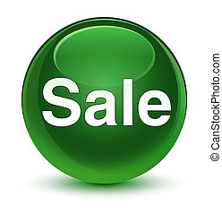 Sale glassy soft green round button