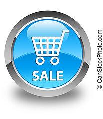 Sale glossy cyan blue round button
