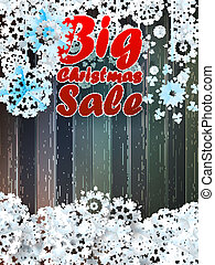 sale., grand, noël, flocons neige