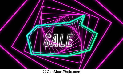 Sale graphic in blue speech bubble on pink spiral