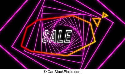 Sale graphic in orange speech bubble on pink spiral