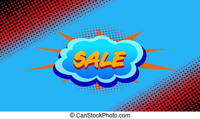 Sale graphic on cloud shaped banner
