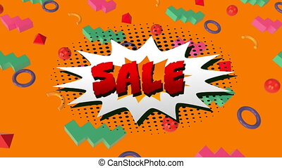 Sale graphic on explosion