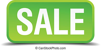 Sale green 3d realistic square isolated button