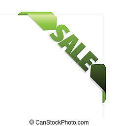 Sale green corner ribbon
