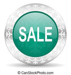 sale green icon, christmas button