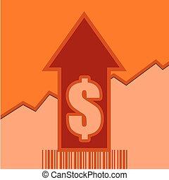 Sale grow up arrow and bar code