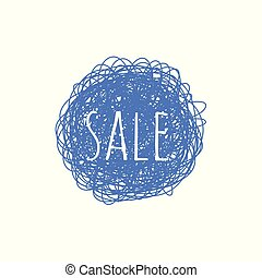 Sale grunge textured banner - blue round shape scratched graphic badge with sign isolated on white background.