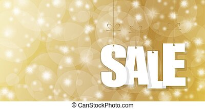 SALE hang tags on golden background