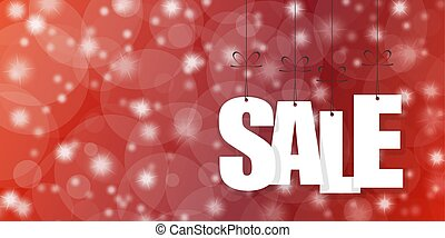 SALE hang tags on red background