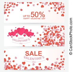 Sale header or banner set with discount offer for Happy Valentine's Day celebration.