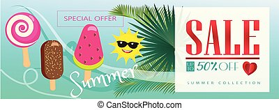 Sale Hello Summer tropical banner