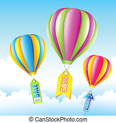 Sale Hot Air Balloon - illustration of sale tag in hot air...