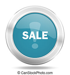 sale icon, blue round glossy metallic button, web and mobile app design illustration