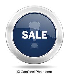 sale icon, dark blue round metallic internet button, web and mobile app illustration