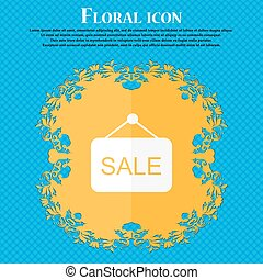 Sale  icon. Floral flat design on a blue abstract background with place for your text. Vector