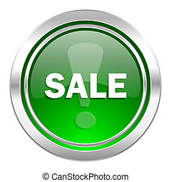 sale icon, green button