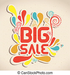 sale icon - illustration of sale label, with colorful drops,...