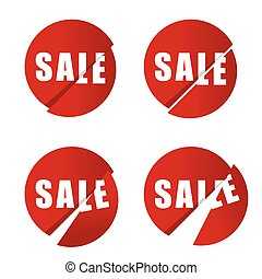 sale icon in red color set illustration