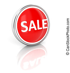 Sale icon on glossy red round button
