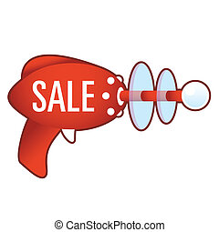 Sale icon on retro raygun - Sale e-commerce icon on laser...