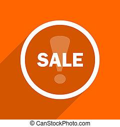 sale icon. Orange flat button. Web and mobile app design illustration
